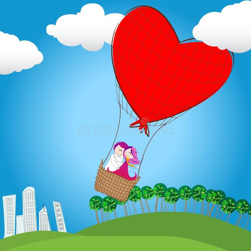 Coppie sveglie nel volo di amore su un aerostato di aria calda illustrazione vettoriale