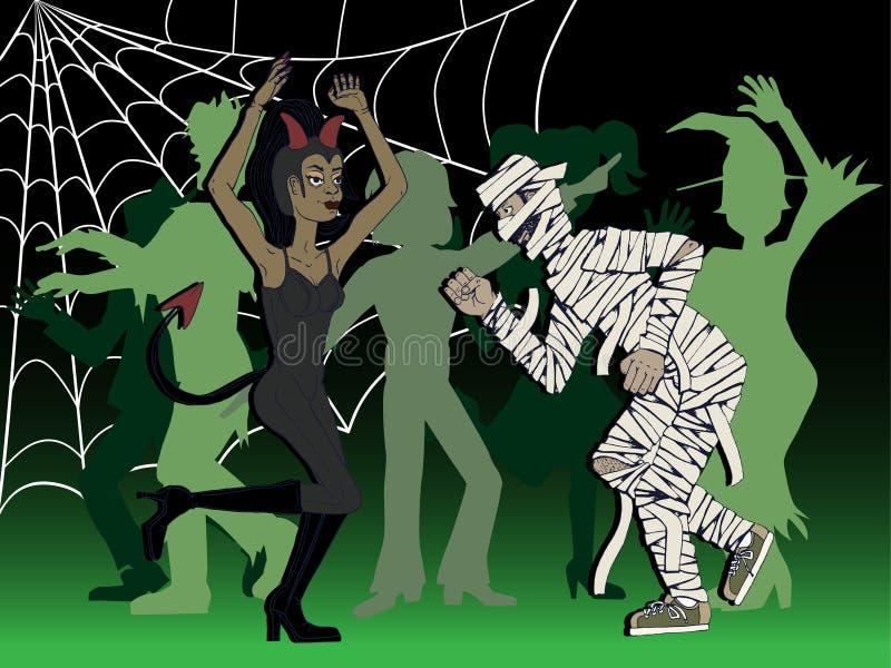 Coppie travestite e dancing ad un partito di Halloween illustrazione vettoriale