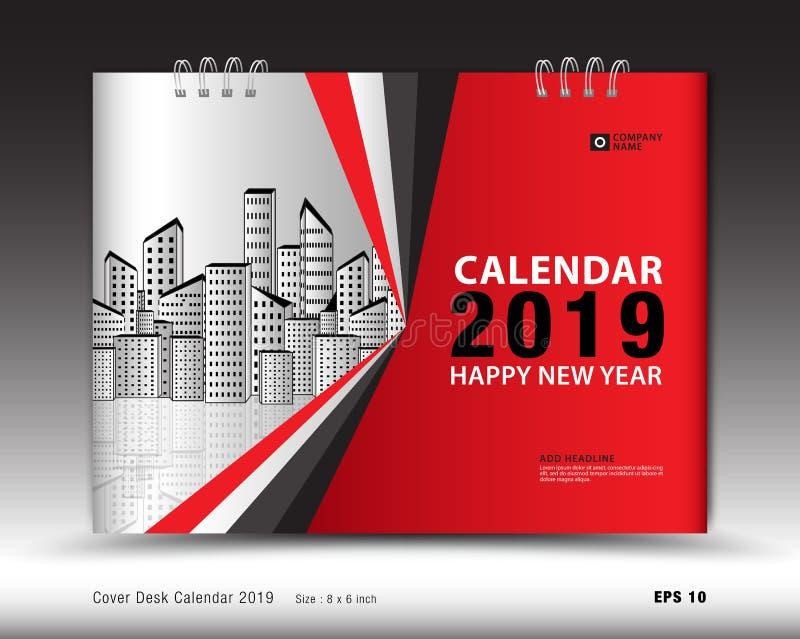 Copra il calendario da scrivania per il vettore del modello da 2019 anni, la disposizione della copertina di libro, il rapporto a illustrazione di stock