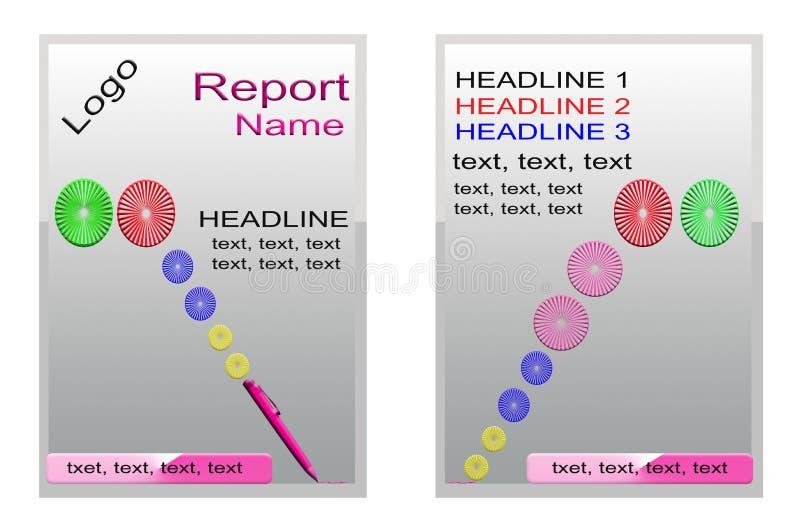 Copra il libro, la progettazione d'argento del rapporto annuale, progettazione di verde dell'opuscolo Progettazione rossa del man illustrazione vettoriale
