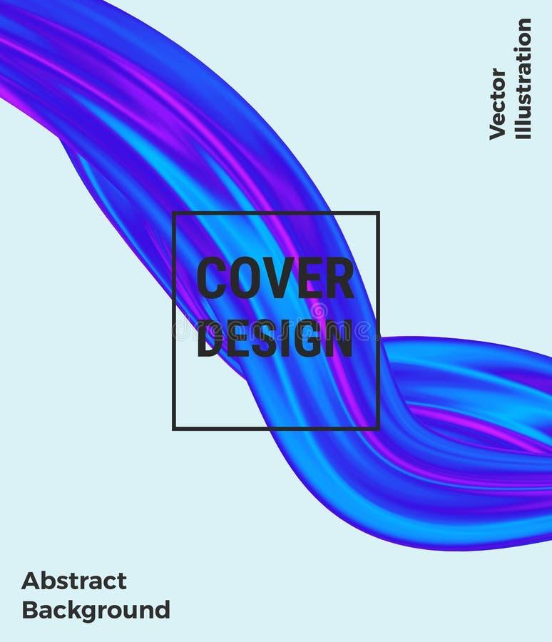 Copra il liquido di flusso, la progettazione liquida dell'onda, forma olografica variopinta astratta moderna sui precedenti bianc illustrazione vettoriale