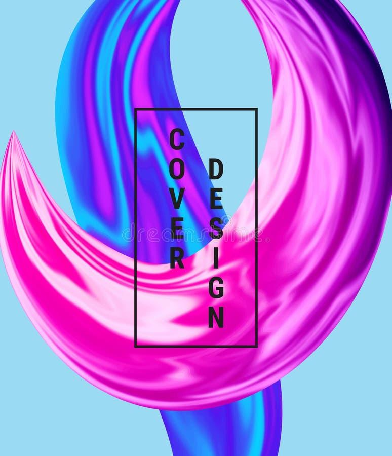 Copra il liquido di flusso, la progettazione liquida dell'onda, forma olografica variopinta astratta moderna sui precedenti bianc royalty illustrazione gratis