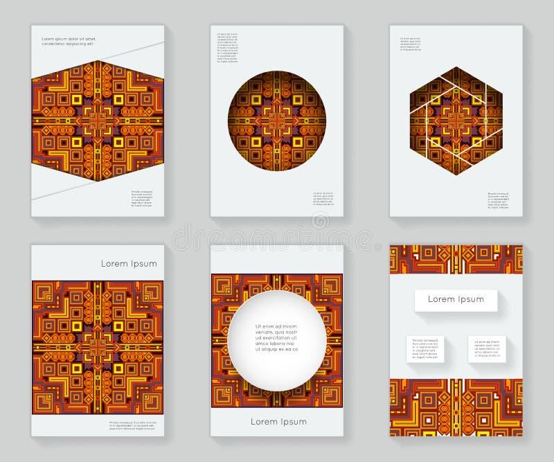 Copra l'opuscolo tribale geometrico decorativo del libro dell'ornamento della struttura del modello di progettazione astratta var illustrazione di stock