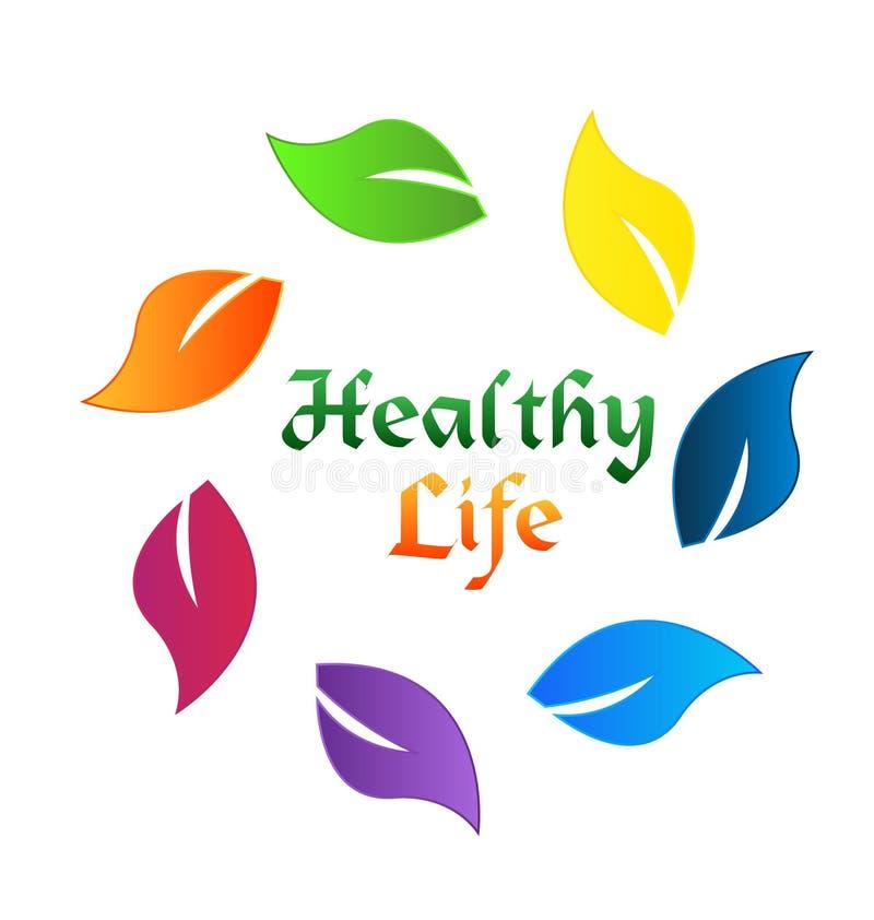 Copre di foglie il concetto sano variopinto dell'ecologia di vita illustrazione vettoriale