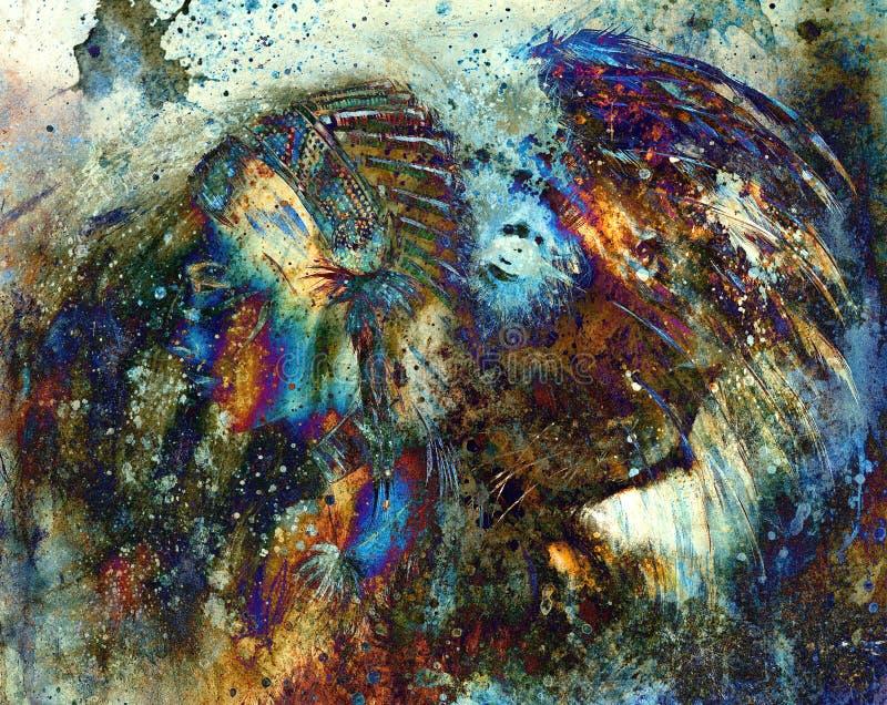 Copricapo d'uso della piuma della donna indiana con il leone ed il collage astratto di colore illustrazione di stock