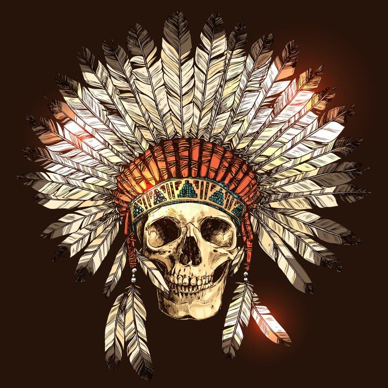 Copricapo indiano del nativo americano disegnato a mano con il cranio umano illustrazione di stock