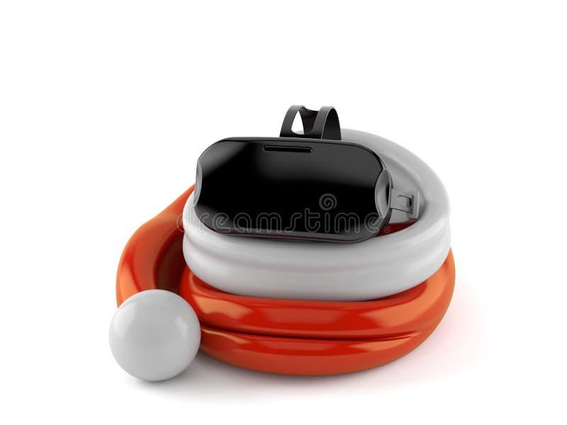Copriobiettivo VR all'interno del cappello a santa illustrazione vettoriale