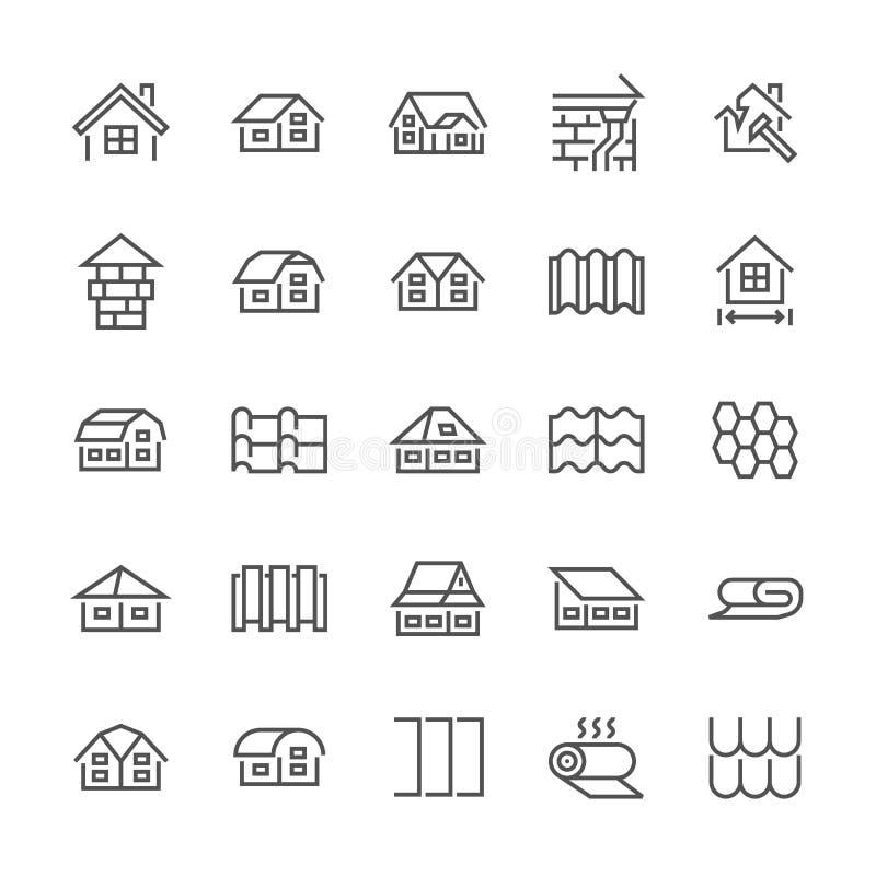 Coprire linea piana icone Alloggi la costruzione, tetti che inguainano le varietà, le mattonelle, il camino, l'architettura dell' illustrazione di stock