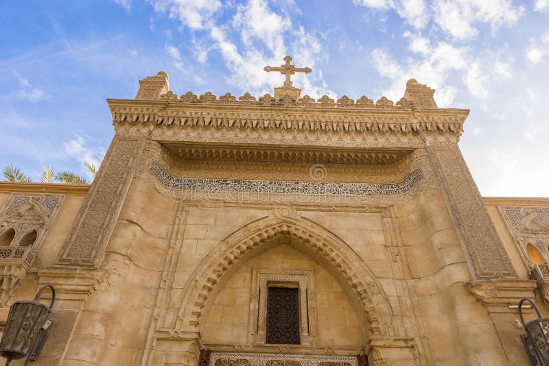 Coptic church in Cairo, Egypt. Entrance from the street of Hanging Church (El Muallaqa stock photos