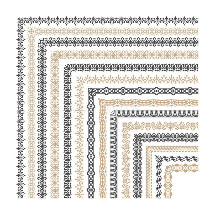 Coptic hörn för vektor för prydnadramgräns royaltyfri illustrationer
