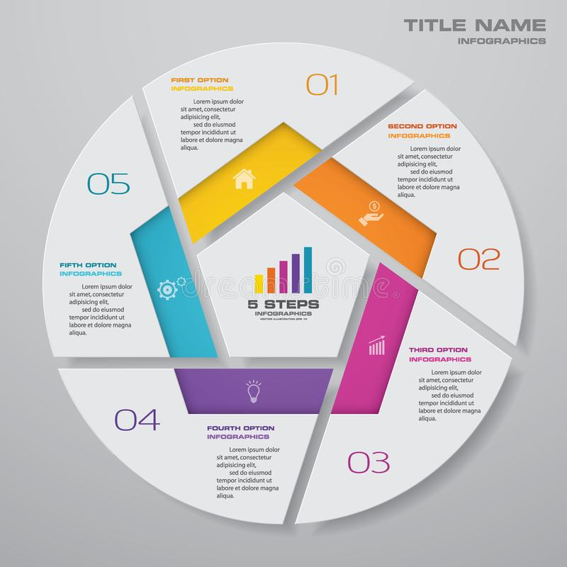 5 steps cycle chart infographics elements. royalty free illustration