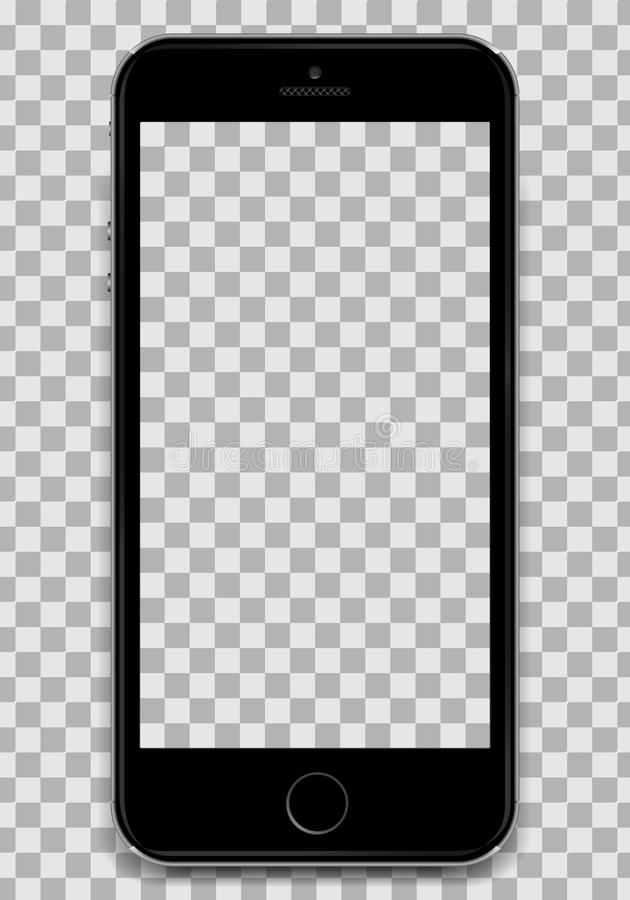 Copy the Black Smartphone into the Apple iphone 6 design with a blank screen to present your application design. A stock illustration