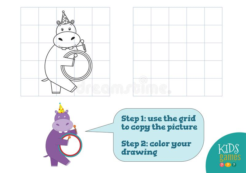 Copy and color picture vector illustration, exercise. Funny cartoon hippopotamus stock illustration