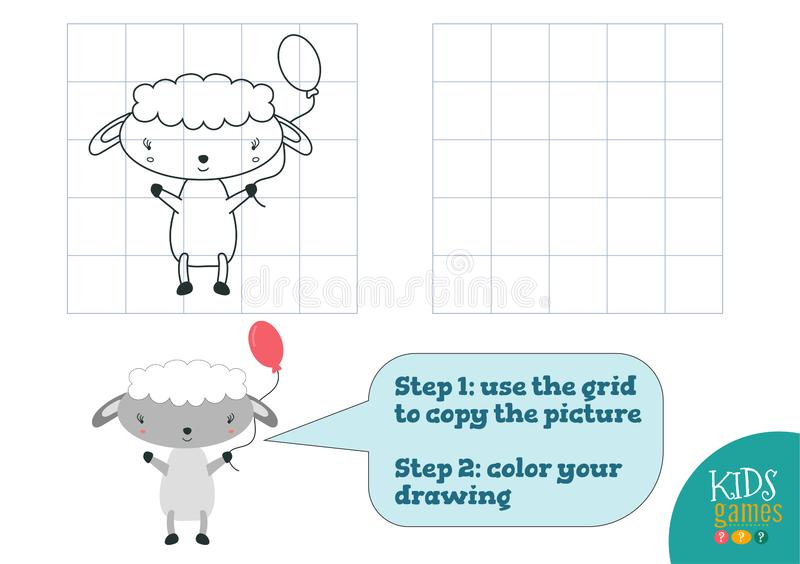 Copy and color picture vector illustration, exercise. Funny cartoon little sheep. For how to draw and color mini game for preschool kids stock illustration