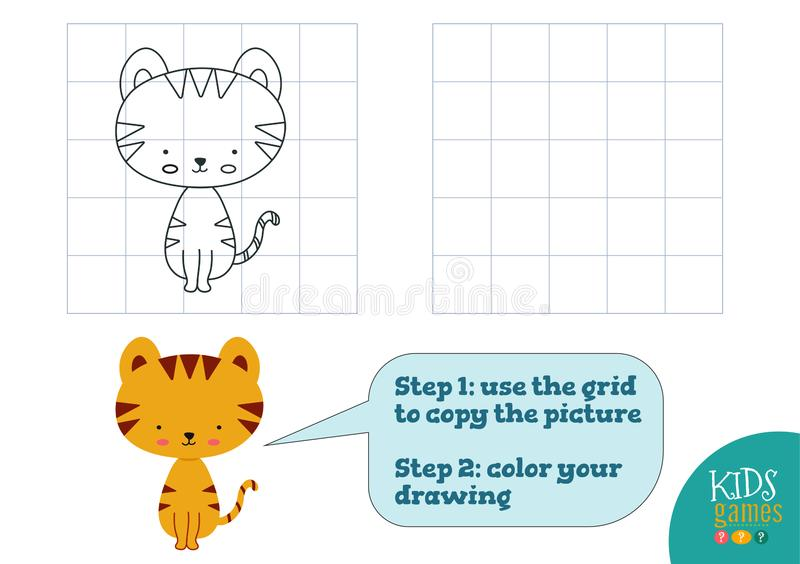 Copy and color picture vector illustration, exercise. Funny cartoon little tiger stock illustration
