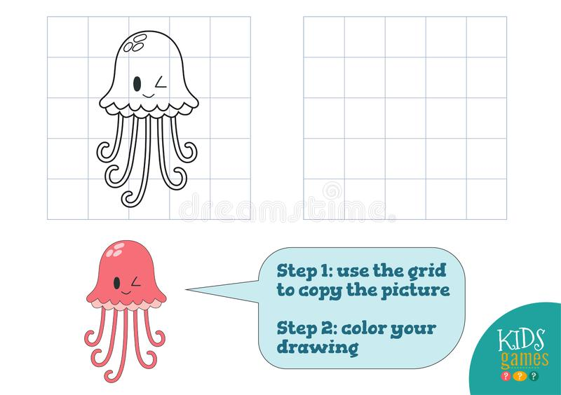 Copy and color picture vector illustration, exercise. Funny cartoon pink jellyfish. For how to draw and color mini game for preschool kids stock illustration