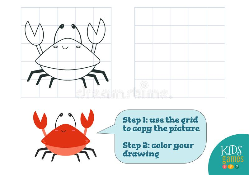 Copy and color picture vector illustration, exercise. Funny cartoon red crab. For how to draw and color mini game for preschool kids stock illustration