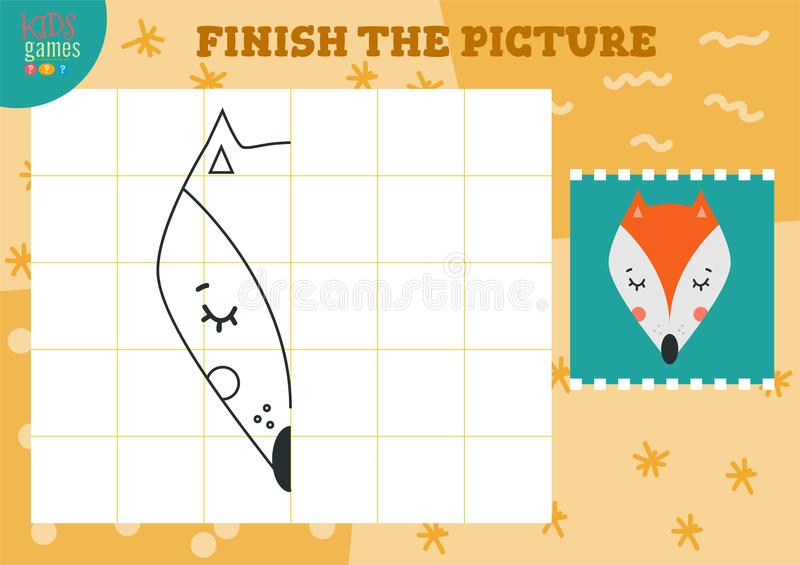 Copy and complete the picture vector blank game, illustration. Preschool kids activity or exercise for learning and education with cartoon fox vector illustration