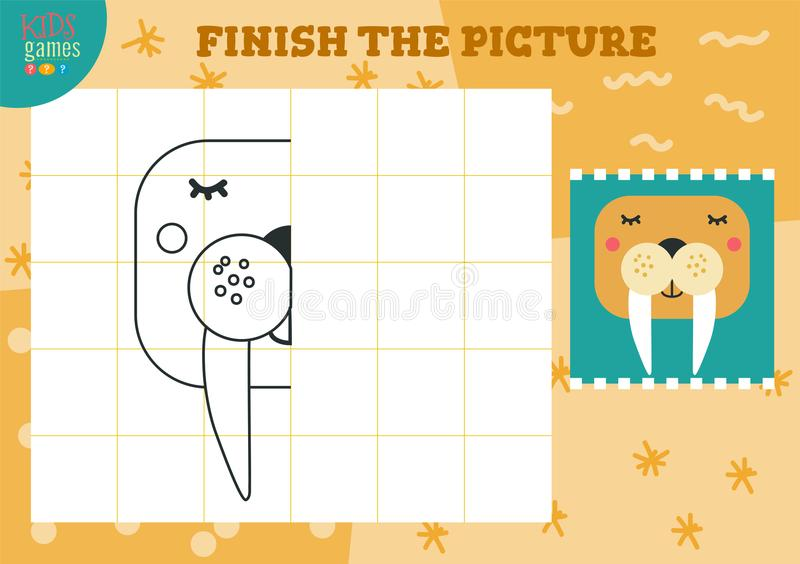 Copy and complete the picture vector blank game, illustration. Preschool kids activity or exercise for learning and education with cartoon walrus royalty free illustration