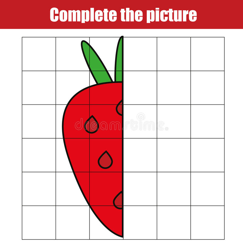Copy by grid. Complete the picture children educational game, coloring page. Kids activity sheet with strawberry stock illustration