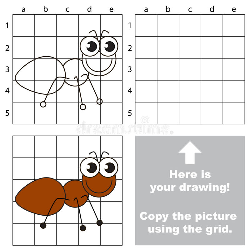 Download copy the image using grid the ant stock vector illustration of skill