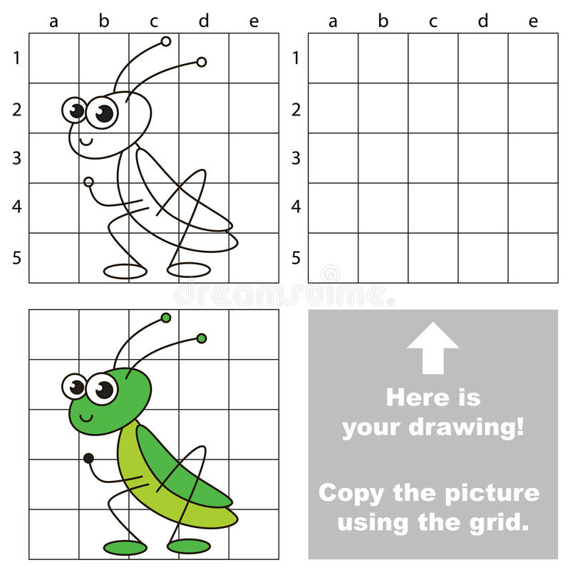 Drawing Lines Game : Copy the image using grid grasshopper stock vector