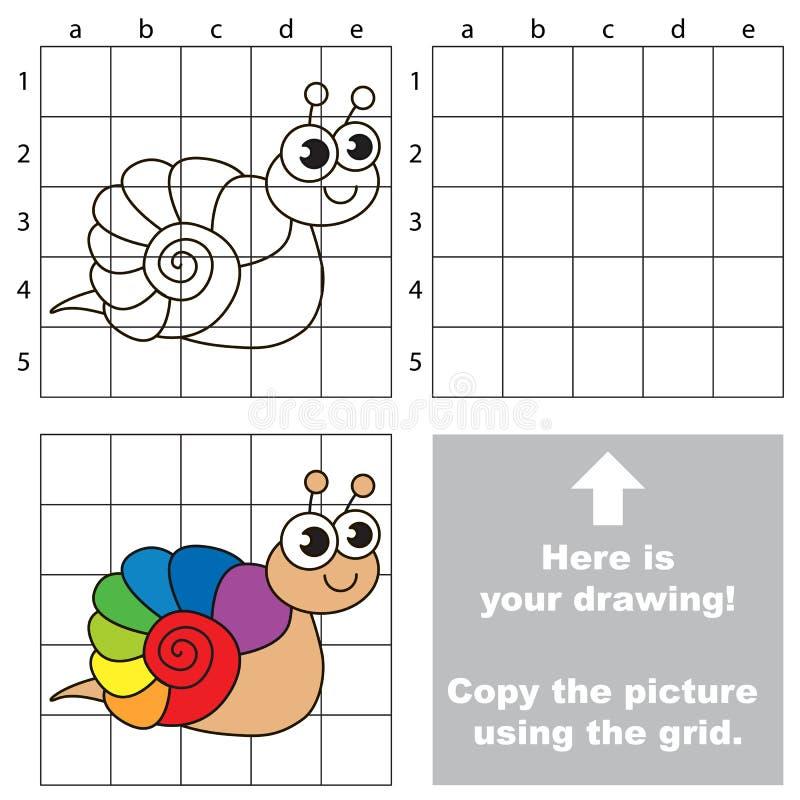 Copy The Image Using Grid. Rainbow Snail. Stock Vector ...