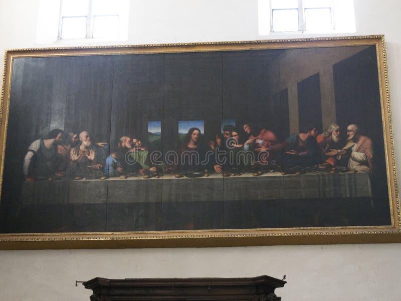 Copy of leonardo Da Vinci Fresco in Turin Italy royalty free stock images