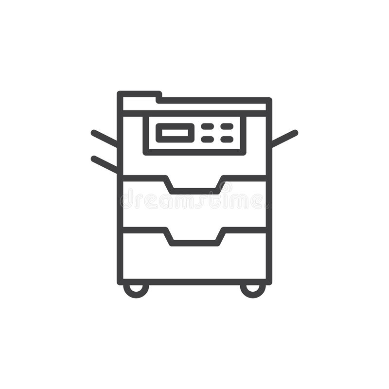 Copy machine line icon, outline vector sign, linear style pictogram isolated on white. royalty free illustration