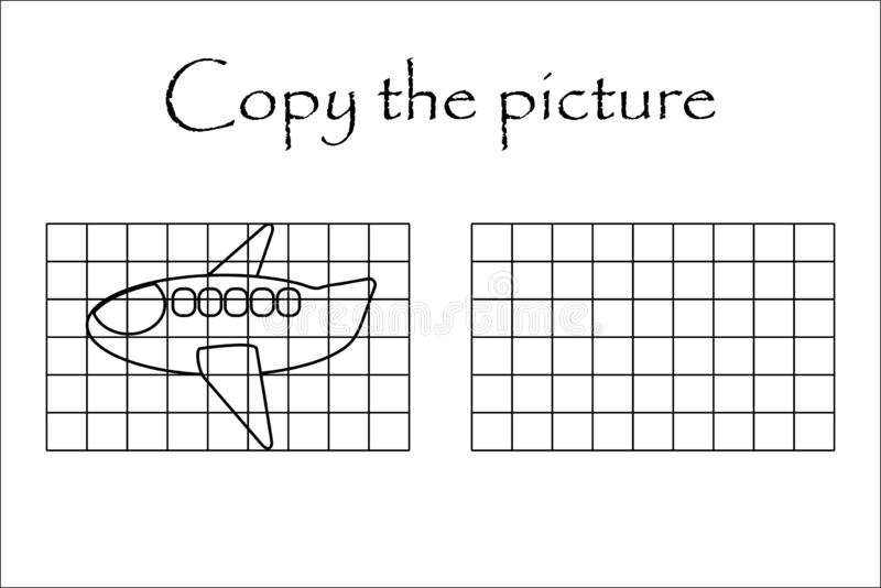 Copy the picture, black white plane, drawing skills training, educational paper game for the development of children, kids. Preschool activity, printable vector illustration