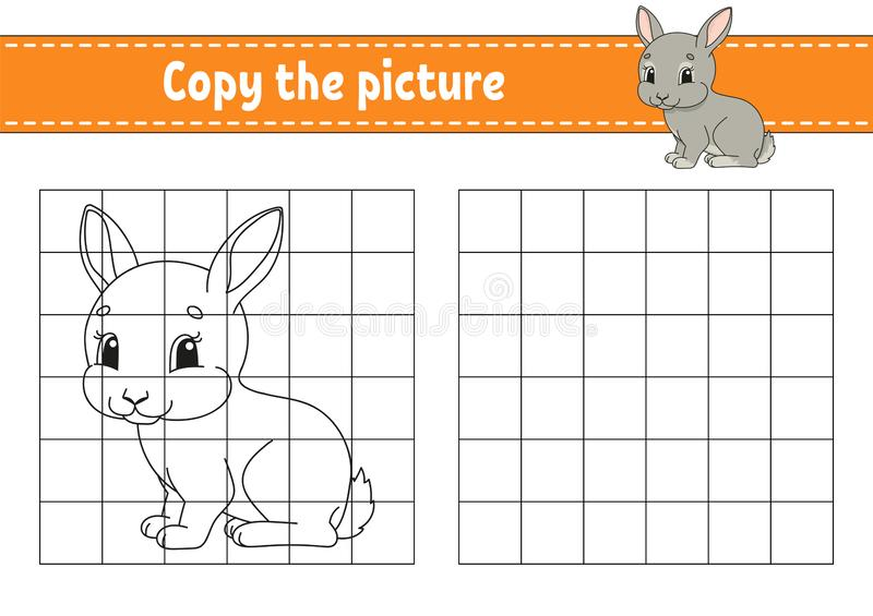 Copy the picture. Coloring book pages for kids. Education developing worksheet. Game for children. Handwriting practice. Funny. Character. Cute cartoon vector vector illustration