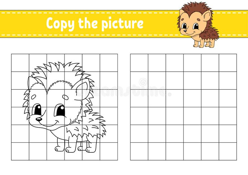 Copy the picture. Coloring book pages for kids. Education developing worksheet. Game for children. Handwriting practice. Funny. Character. Cute cartoon vector royalty free illustration