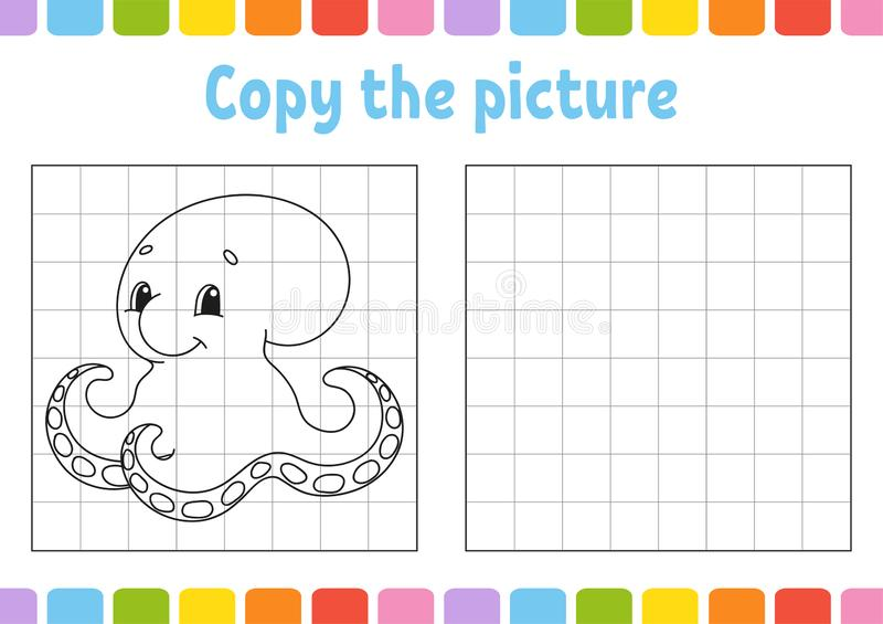 Copy the picture. Coloring book pages for kids. Education developing worksheet. Game for children. Handwriting practice. Funny royalty free illustration