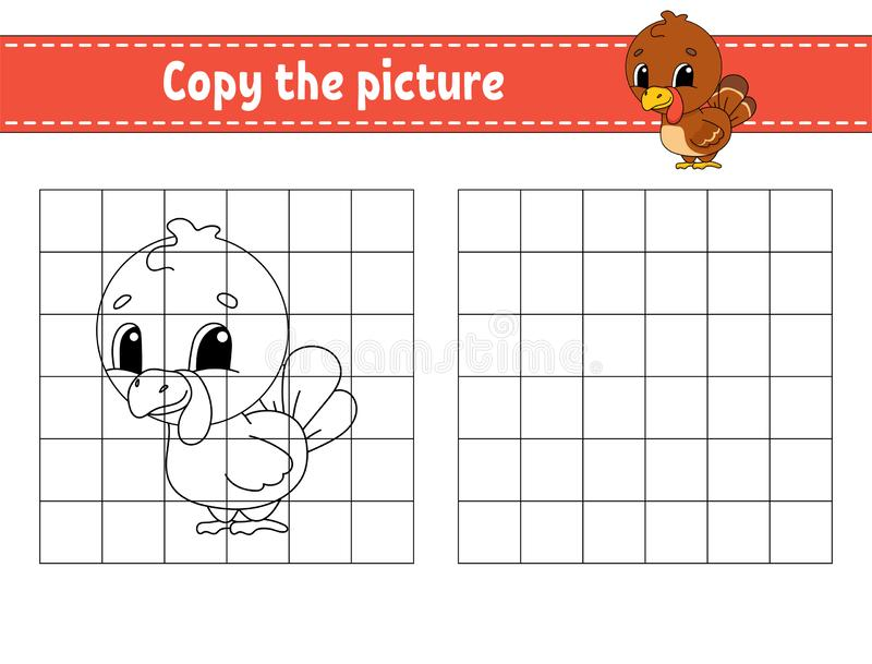 Copy the picture. Coloring book pages for kids. Education developing worksheet. Game for children. Handwriting practice. Funny. Character. Cute cartoon vector stock illustration