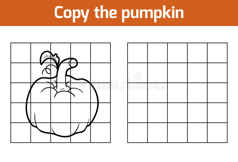 Copy the picture. Fruits and vegetables, pumpkin. Copy the picture, education game for children. Fruits and vegetables, pumpkin stock illustration