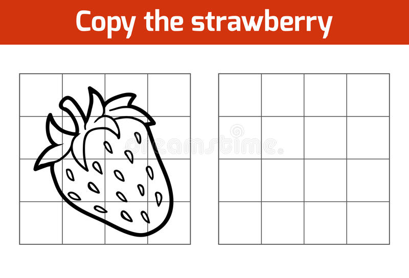 Copy the picture. Fruits and vegetables, strawberry. Copy the picture, education game for children. Fruits and vegetables, strawberry royalty free illustration