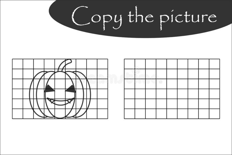Copy the picture, halloween black white pumpkin, drawing skills training, educational paper game for the development of children, royalty free illustration
