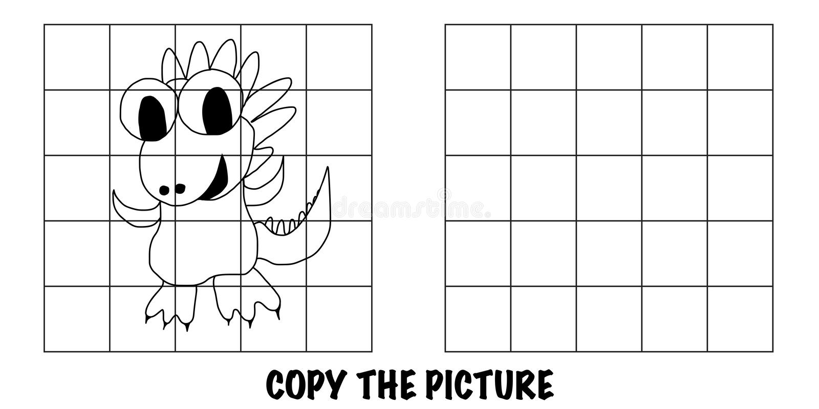 Copy The Picture of a happy dragon. Copy The Picture of a happy smiling dragon. Good for kids to improve their drawing skills royalty free illustration