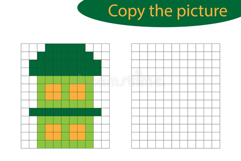 Copy the picture, pixel art, house cartoon, drawing skills training, educational paper game for the development of children, kids. Preschool activity, printable vector illustration