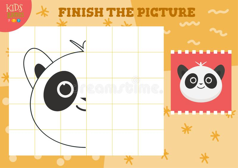 Copy picture vector illustration. Complete and coloring game for preschool kids. Copy picture vector illustration. Complete and coloring game for preschool and stock illustration