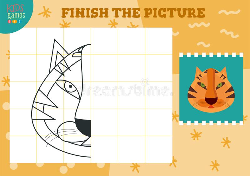 Copy picture vector illustration. Complete and coloring game for preschool and school kids. Cute tiger outline for drawing and education activity stock illustration