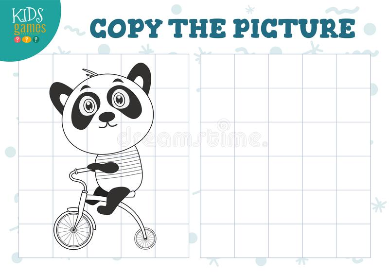 Copy picture vector illustration. Educational game for preschool kids. Cartoon outline panda bear on bike for drawing exercise royalty free illustration
