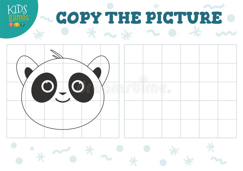 Copy picture vector illustration. Educational game for preschool kids. Cartoon outline panda head for drawing stock illustration