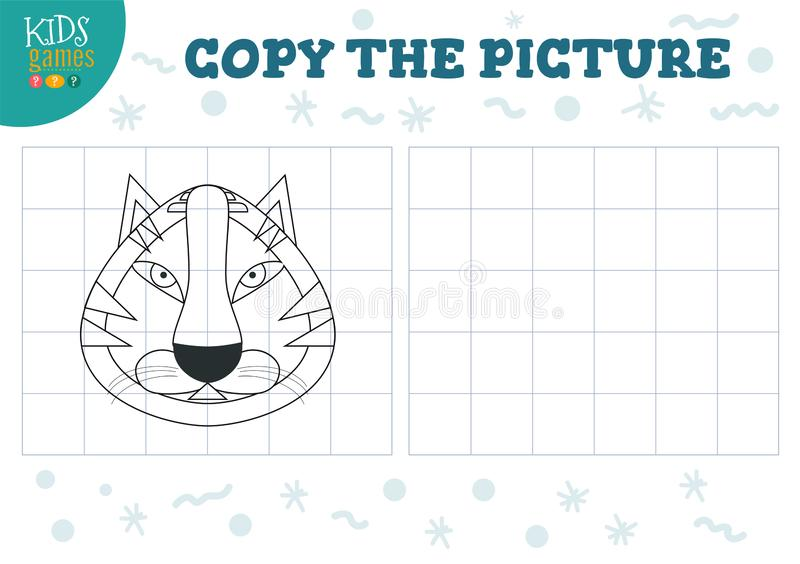 Copy picture vector illustration. Educational game for preschool kids. Cartoon outline tiger head for drawing vector illustration