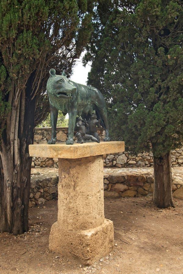 Copy of Roman sculpture in Tarragona Passeig arqueologic Archaeological Promenade. Copy of Roman She-wolf sculpture in Tarragona Passeig arqueologic stock images