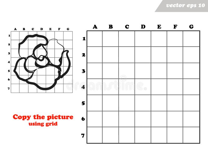Copy rose flower with the grid lines. vector illustration