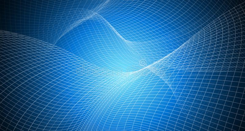 Copy space with abstract background irregular grid, mesh pattern on blue light vector illustration