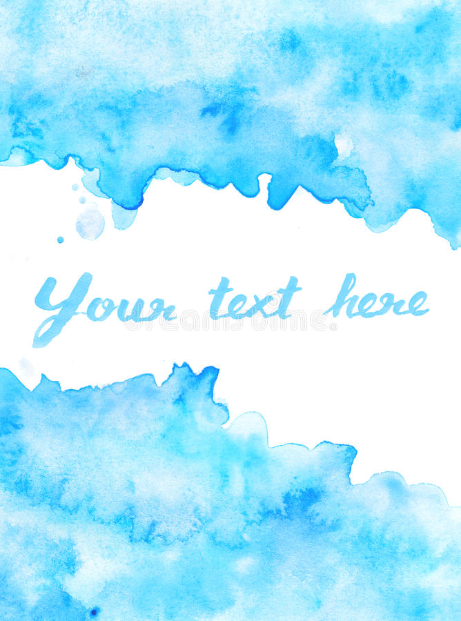 Copy space in blue watercolor background. Copy space in blue water color background royalty free illustration