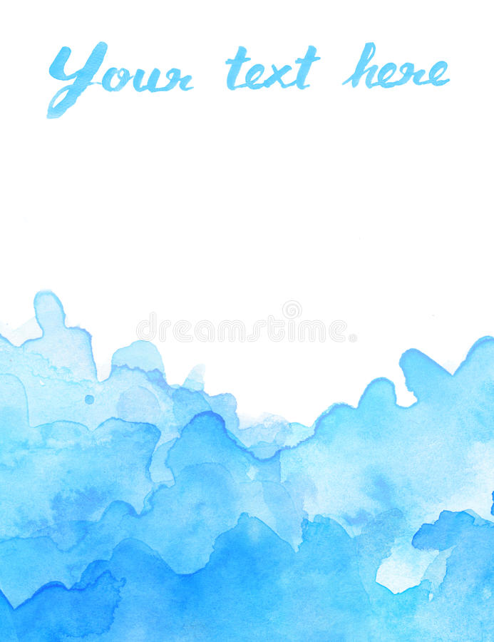 Copy space in blue watercolor background royalty free illustration