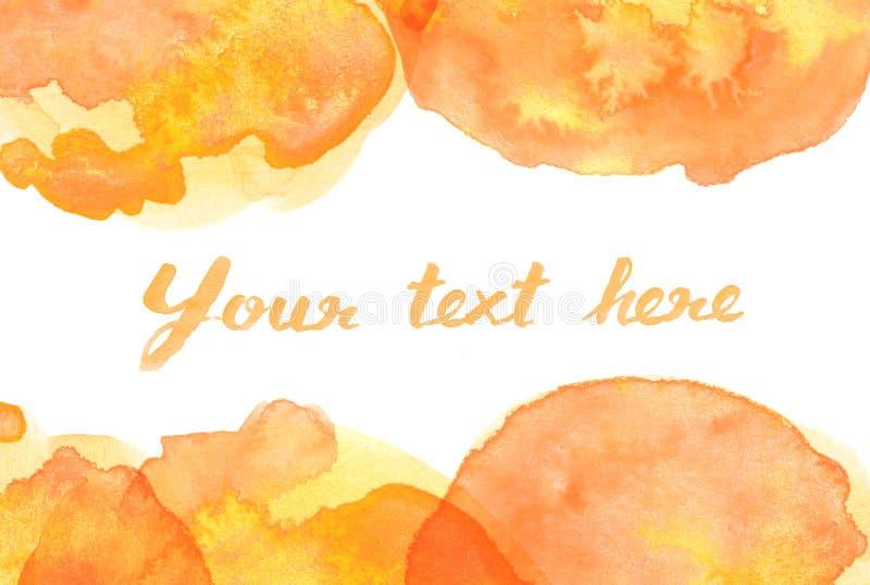 Copy space between Brown orange yellow watercolor background. Copy space between Brown orange yellow water color background stock illustration